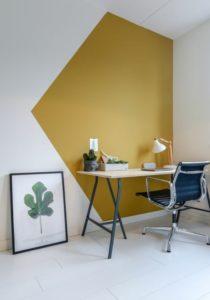 Peinture jaune idée coin bureau