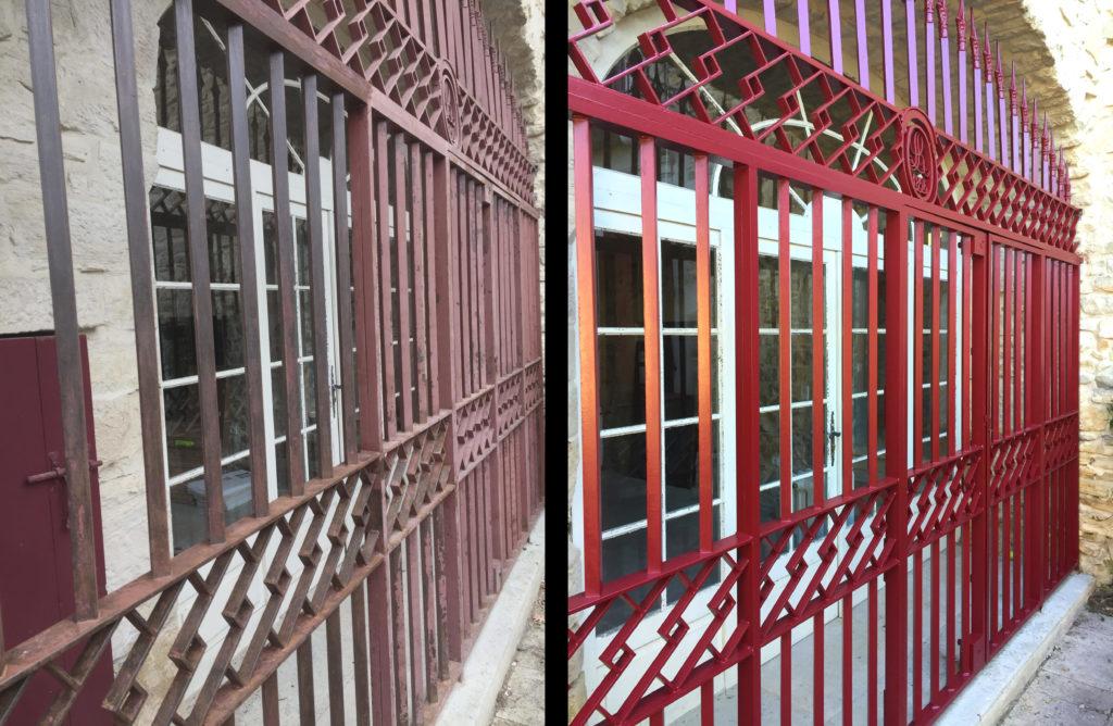 Avant/après rénovation d'une grille de protection peinte en rouge.