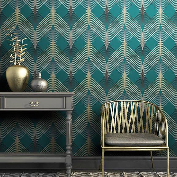papier peint motif bleu vert