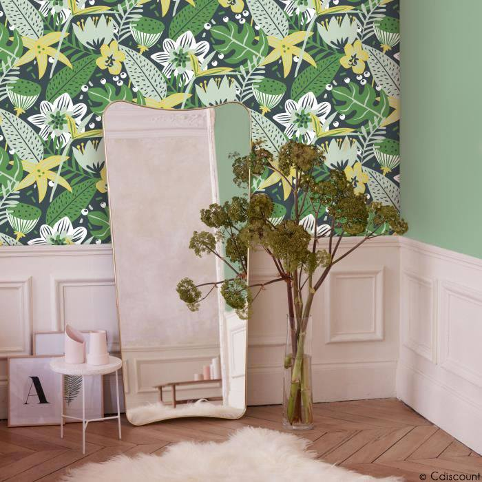 Duo papier peint motif jungle et mur velours sauge