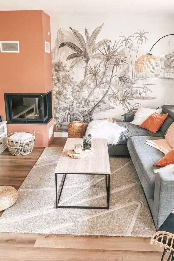 Pose de papier peint motif palmiers
